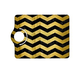 Chevron3 Black Marble & Gold Brushed Metal Kindle Fire Hd (2013) Flip 360 Case by trendistuff