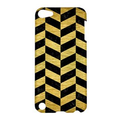 Chevron1 Black Marble & Gold Brushed Metal Apple Ipod Touch 5 Hardshell Case by trendistuff
