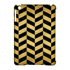Chevron1 Black Marble & Gold Brushed Metal Apple Ipad Mini Hardshell Case (compatible With Smart Cover) by trendistuff
