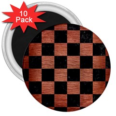 Square1 Black Marble & Copper Brushed Metal 3  Magnet (10 Pack) by trendistuff