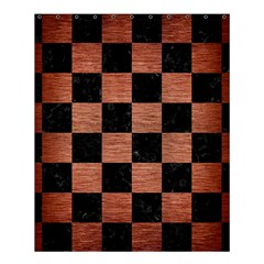 Square1 Black Marble & Copper Brushed Metal Shower Curtain 60  X 72  (medium) by trendistuff