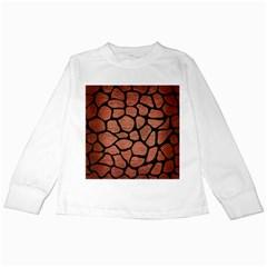 Skin1 Black Marble & Copper Brushed Metal Kids Long Sleeve T Shirt by trendistuff
