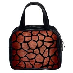 Skin1 Black Marble & Copper Brushed Metal Classic Handbag (two Sides) by trendistuff