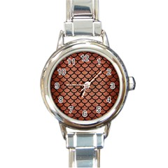 Scales1 Black Marble & Copper Brushed Metal (r) Round Italian Charm Watch by trendistuff