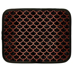 Scales1 Black Marble & Copper Brushed Metal Netbook Case (large) by trendistuff