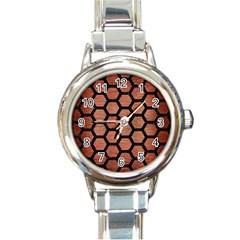 Hexagon2 Black Marble & Copper Brushed Metal (r) Round Italian Charm Watch by trendistuff