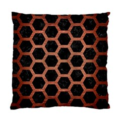 Hexagon2 Black Marble & Copper Brushed Metal Standard Cushion Case (two Sides) by trendistuff