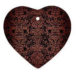 Damask2 Black Marble & Copper Brushed Metal Heart Ornament (two Sides) by trendistuff