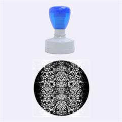 Damask2 Black Marble & Copper Brushed Metal Rubber Stamp Round (medium) by trendistuff