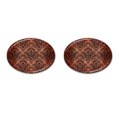 Damask1 Black Marble & Copper Brushed Metal (r) Cufflinks (oval) by trendistuff