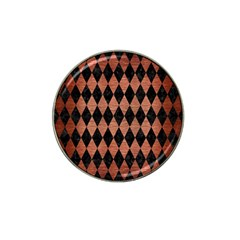 Diamond1 Black Marble & Copper Brushed Metal Hat Clip Ball Marker by trendistuff