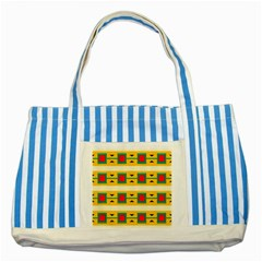 Connected Squares And Triangles striped Blue Tote Bag by LalyLauraFLM