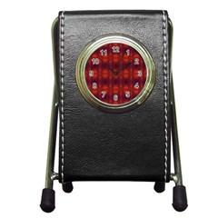 Brown Diamonds Pattern Pen Holder Desk Clocks by Costasonlineshop
