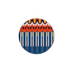 Textured Shapes In Retro Colors    golf Ball Marker (4 Pack) by LalyLauraFLM