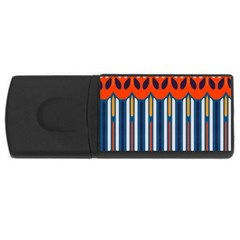 Textured Shapes In Retro Colors    usb Flash Drive Rectangular (4 Gb) by LalyLauraFLM