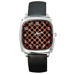 Circles2 Black Marble & Copper Brushed Metal (r) Square Metal Watch by trendistuff