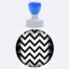 Chevron9 Black Marble & Copper Brushed Metal (r) Rubber Stamp Round (large) by trendistuff
