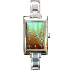 Floating Teal And Orange Peach Rectangle Italian Charm Watches by timelessartoncanvas