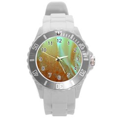 Floating Teal And Orange Peach Round Plastic Sport Watch (l) by timelessartoncanvas