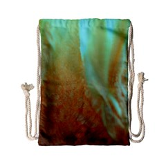 Floating Teal And Orange Peach Drawstring Bag (small) by timelessartoncanvas