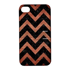 Chevron9 Black Marble & Copper Brushed Metal Apple Iphone 4/4s Hardshell Case With Stand by trendistuff