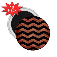Chevron3 Black Marble & Copper Brushed Metal 2 25  Magnet (10 Pack) by trendistuff