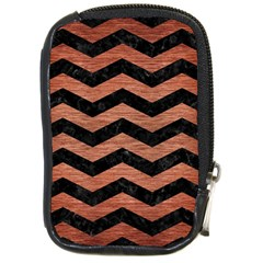 Chevron3 Black Marble & Copper Brushed Metal Compact Camera Leather Case by trendistuff
