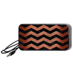 Chevron3 Black Marble & Copper Brushed Metal Portable Speaker (black) by trendistuff