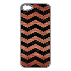 Chevron3 Black Marble & Copper Brushed Metal Apple Iphone 5 Case (silver) by trendistuff