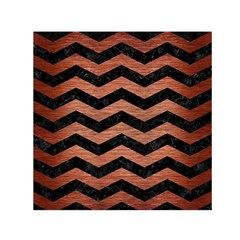 Chevron3 Black Marble & Copper Brushed Metal Small Satin Scarf (square) by trendistuff