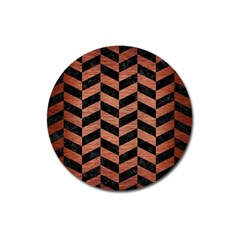 Chevron1 Black Marble & Copper Brushed Metal Magnet 3  (round) by trendistuff
