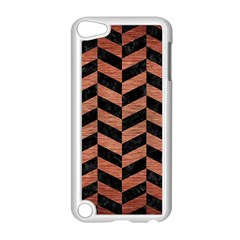 Chevron1 Black Marble & Copper Brushed Metal Apple Ipod Touch 5 Case (white) by trendistuff