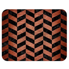 Chevron1 Black Marble & Copper Brushed Metal Double Sided Flano Blanket (medium) by trendistuff
