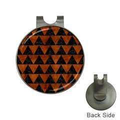 Triangle2 Black Marble & Brown Burl Wood Golf Ball Marker Hat Clip by trendistuff