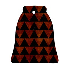 Triangle2 Black Marble & Brown Burl Wood Bell Ornament (two Sides) by trendistuff