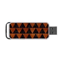 Triangle2 Black Marble & Brown Burl Wood Portable Usb Flash (two Sides) by trendistuff