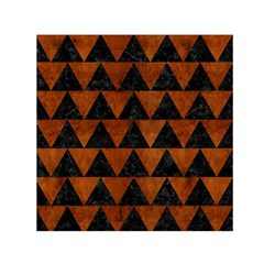Triangle2 Black Marble & Brown Burl Wood Small Satin Scarf (square) by trendistuff