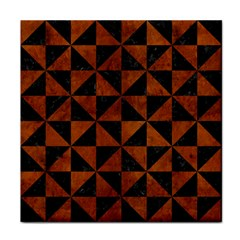 Triangle1 Black Marble & Brown Burl Wood Face Towel by trendistuff