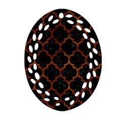 Tile1 Black Marble & Brown Burl Wood Ornament (oval Filigree) by trendistuff
