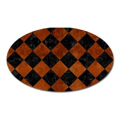Square2 Black Marble & Brown Burl Wood Magnet (oval) by trendistuff