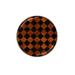 Square2 Black Marble & Brown Burl Wood Hat Clip Ball Marker (10 Pack) by trendistuff