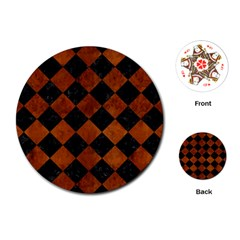 Square2 Black Marble & Brown Burl Wood Playing Cards (round) by trendistuff