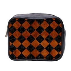 Square2 Black Marble & Brown Burl Wood Mini Toiletries Bag (two Sides) by trendistuff