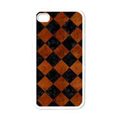Square2 Black Marble & Brown Burl Wood Apple Iphone 4 Case (white) by trendistuff