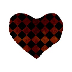 Square2 Black Marble & Brown Burl Wood Standard 16  Premium Flano Heart Shape Cushion  by trendistuff