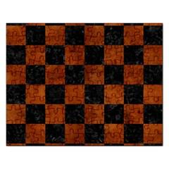 Square1 Black Marble & Brown Burl Wood Jigsaw Puzzle (rectangular) by trendistuff