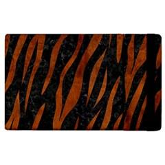 Skin3 Black Marble & Brown Burl Wood Apple Ipad 2 Flip Case by trendistuff