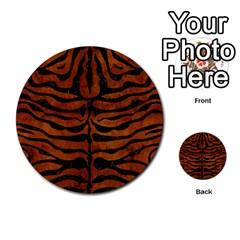 Skin2 Black Marble & Brown Burl Wood (r) Multi Purpose Cards (round) by trendistuff