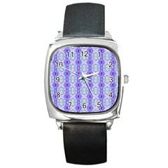 Light Blue Purple White Girly Pattern Square Metal Watches by Costasonlineshop