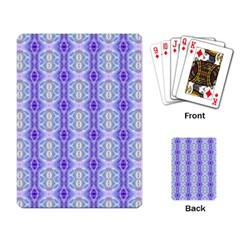 Light Blue Purple White Girly Pattern Playing Card by Costasonlineshop